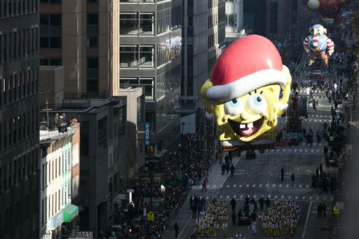 <div class='meta'><div class='origin-logo' data-origin='none'></div><span class='caption-text' data-credit='Photo/Ben Hider'>The Sponge Bob Square Pants balloon goes down 6th Avenue. (Photo by Ben Hider/Invision/AP)</span></div>