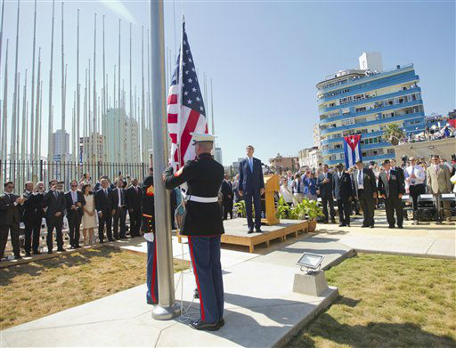 "<div class=""meta image-caption""><div class=""origin-logo origin-image none""><span>none</span></div><span class=""caption-text"">Secretary of State John Kerry, and other dignitaries watch as U.S. Marines raise the U.S. flag over the newly reopened embassy in Havana.  (AP Photo/Pablo Martinez Monsivais, Pool) (AP Photo/ Pablo Martinez Monsivais)</span></div>"
