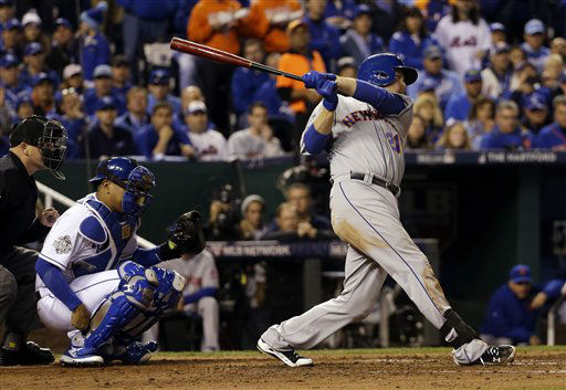 "<div class=""meta image-caption""><div class=""origin-logo origin-image none""><span>none</span></div><span class=""caption-text"">New York Mets' Lucas Duda hits an RBI single during the fourth inning of Game 2. (AP Photo/ David J. Phillip)</span></div>"
