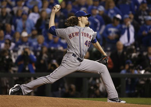 "<div class=""meta image-caption""><div class=""origin-logo origin-image none""><span>none</span></div><span class=""caption-text"">New York Mets pitcher Jacob deGrom pitches during the first inning of Game 2. (AP Photo/ Matt Slocum)</span></div>"