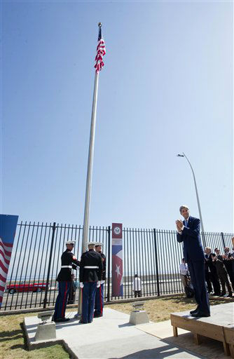 "<div class=""meta image-caption""><div class=""origin-logo origin-image none""><span>none</span></div><span class=""caption-text"">Secretary of State John Kerry applauds at right during the raising of the U.S. flag over the newly reopened embassy in Havana, Cuba.  (AP Photo/Pablo Martinez Monsivais,Pool) (AP Photo/ Pablo Martinez Monsivais)</span></div>"