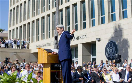 "<div class=""meta image-caption""><div class=""origin-logo origin-image none""><span>none</span></div><span class=""caption-text"">Secretary of State John Kerry speaks during the raising of the U.S. flag over the newly reopened embassy in Havana, Cuba.  (AP Photo/Pablo Martinez Monsivais, Pool) (AP Photo/ Pablo Martinez Monsivais)</span></div>"