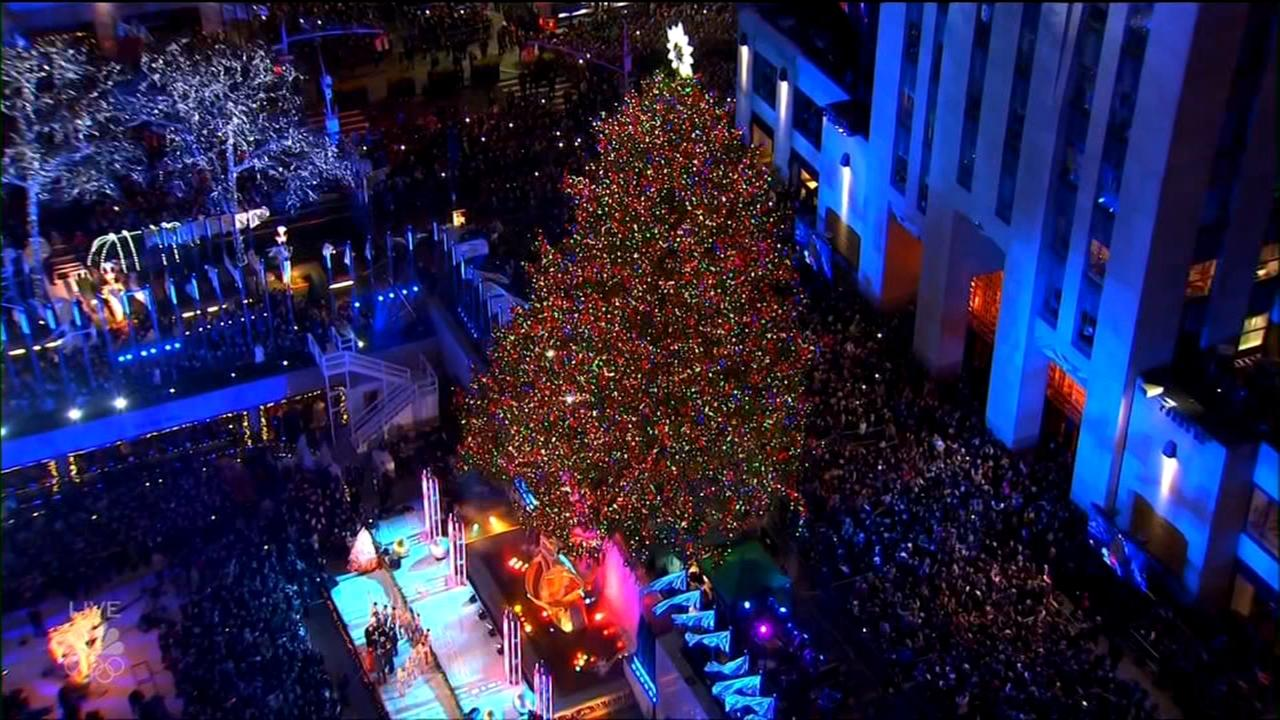 Annual Christmas tree lighting takes place at Rockefeller Center