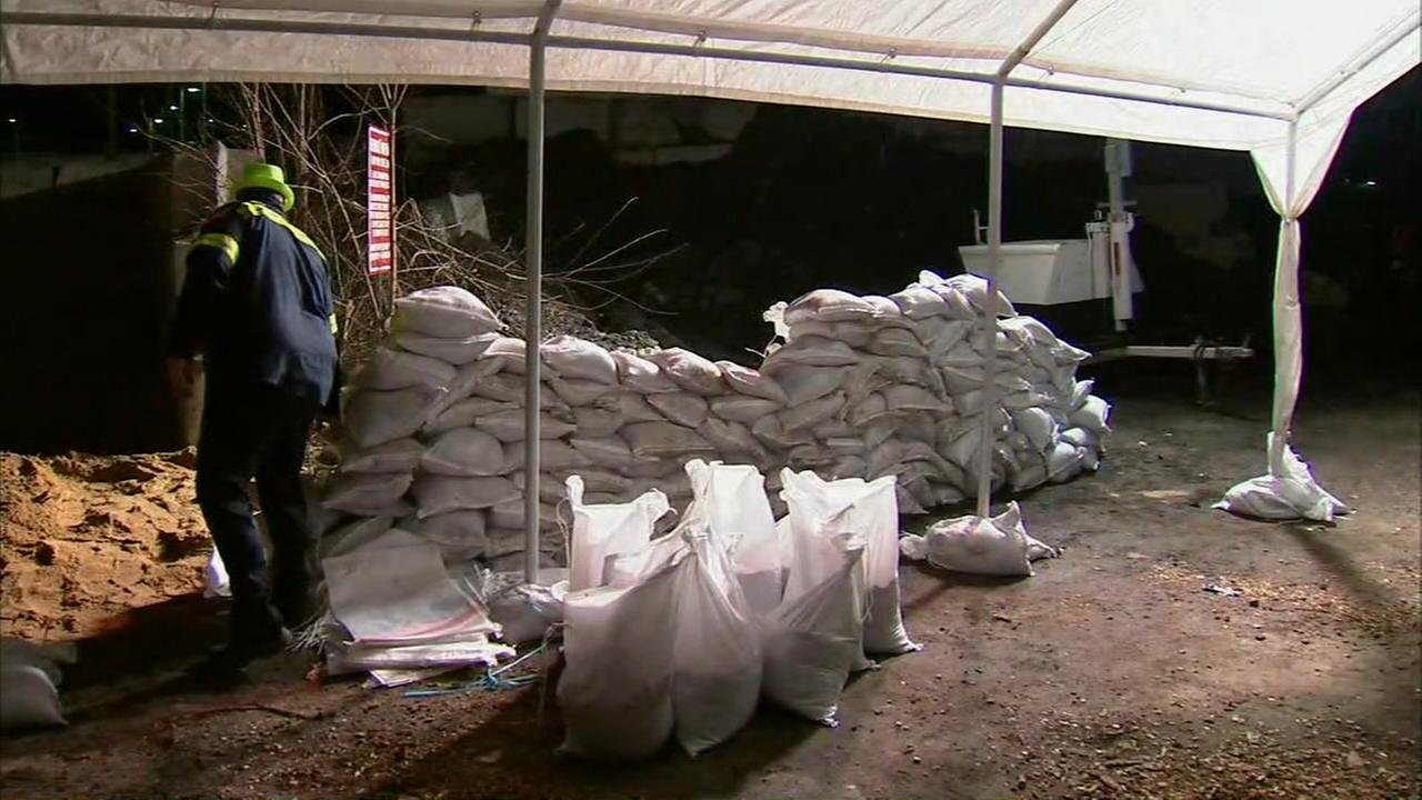 Sandbags were handed out to residents in Yonkers Thursday night in preparation for the storm.