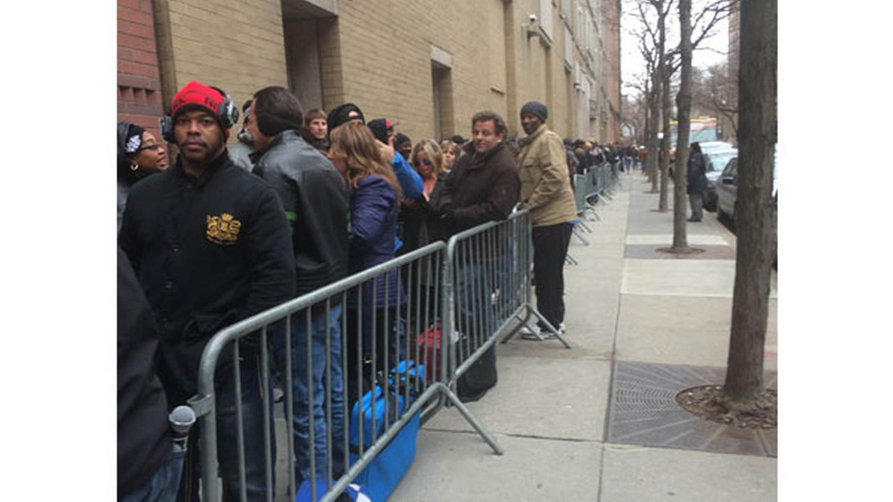 The line wound all the way around a city street- hopefuls lining up for their shot at the Shark Tank!