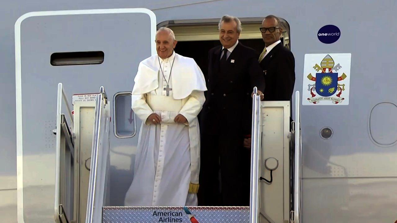 Pope Francis smiles as he looks out at the crowd at John F. Kennedy International Airport in New York City on Sept. 24, 2015.