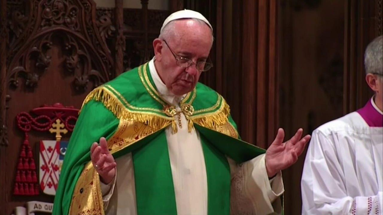 Pope Francis stands before a full house at St. Patricks Cathedral in New York City on Thursday, Sept. 24, 2015.