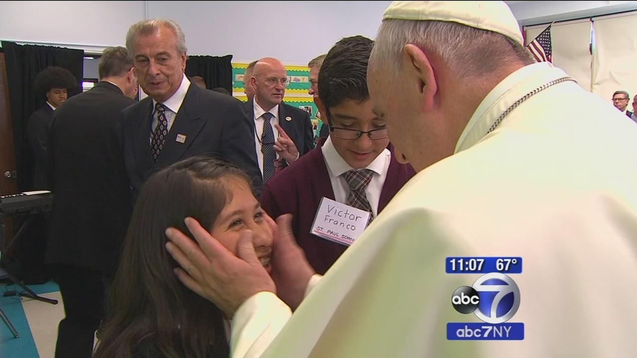 Pope Francis visits with students at East Harlem school