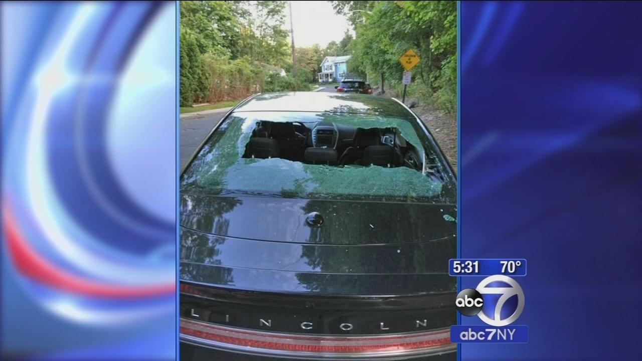 Drivers rear windshield shattered by rock tossed from bridge in Roslyn
