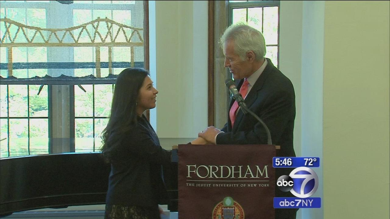 Alex Trebek gives Fordham student from Harlem scholarship