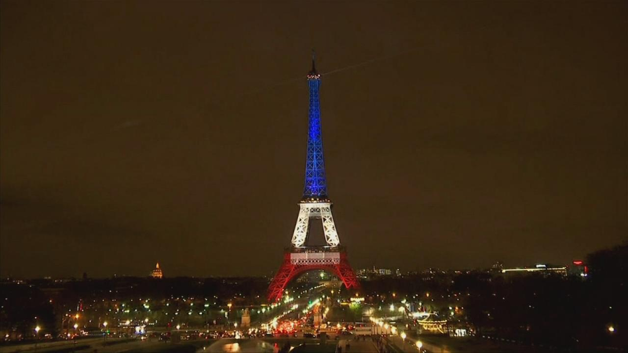 Eiffel Tower relit in blue, white and red