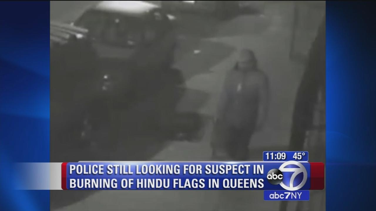 Police search for suspect in burning of Hindu flags in Queens