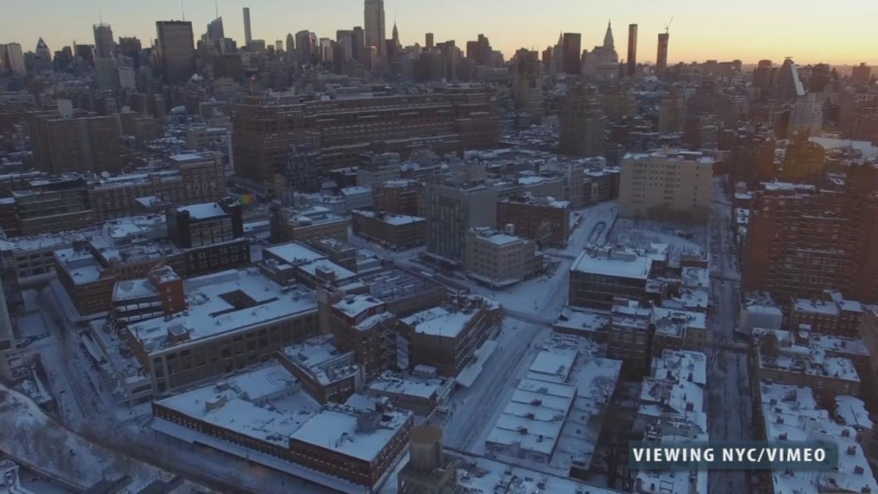 Drones show snow from above