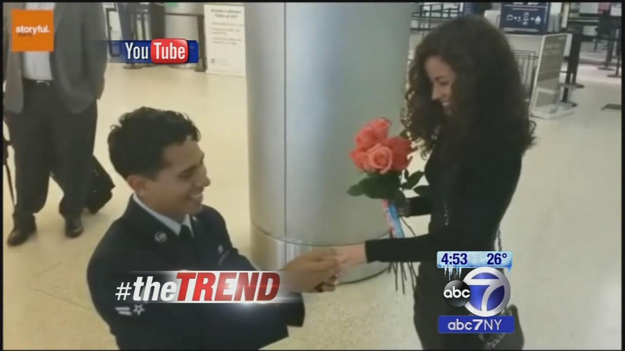 The Trend: Flight passengers help servicemember propose to girlfriend