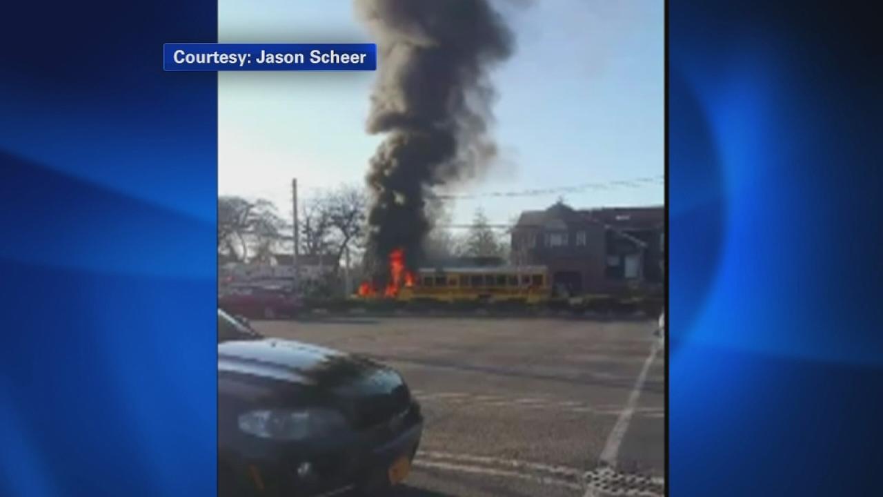 School bus goes up in flames