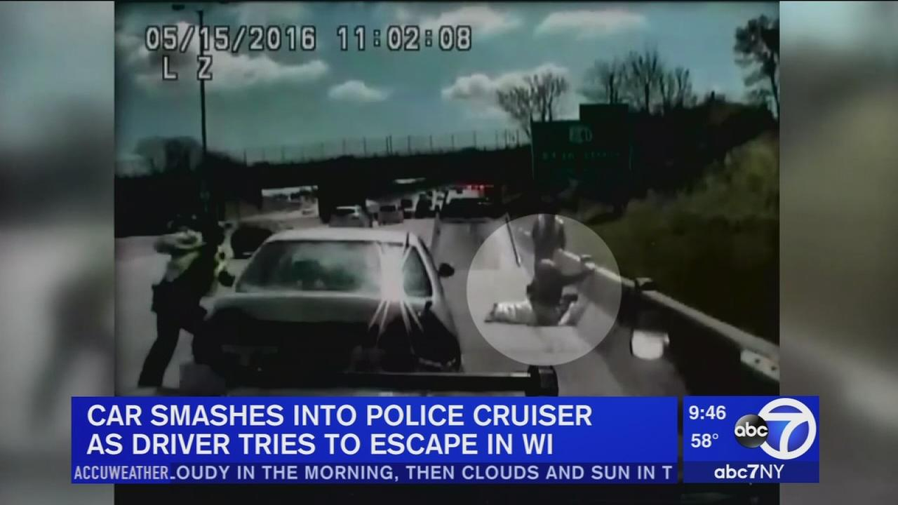 Car smashes into police cruiser