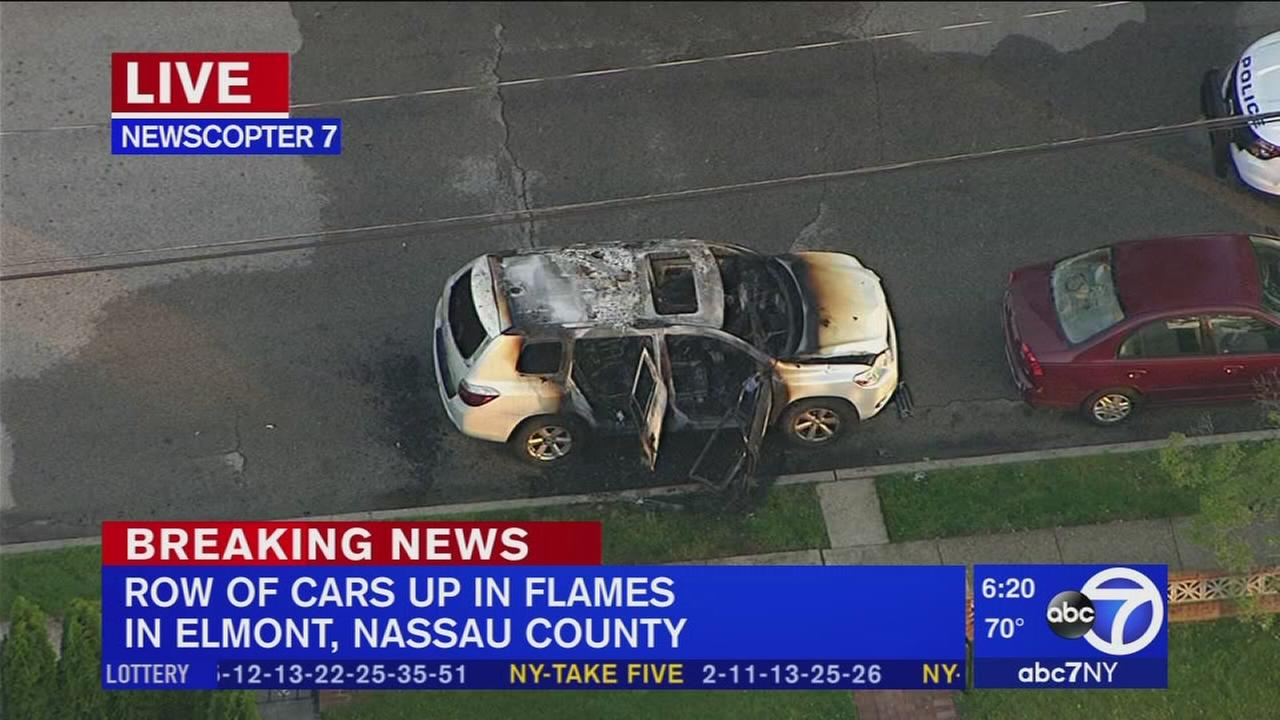 At least 4 cars up in flames in Nassau