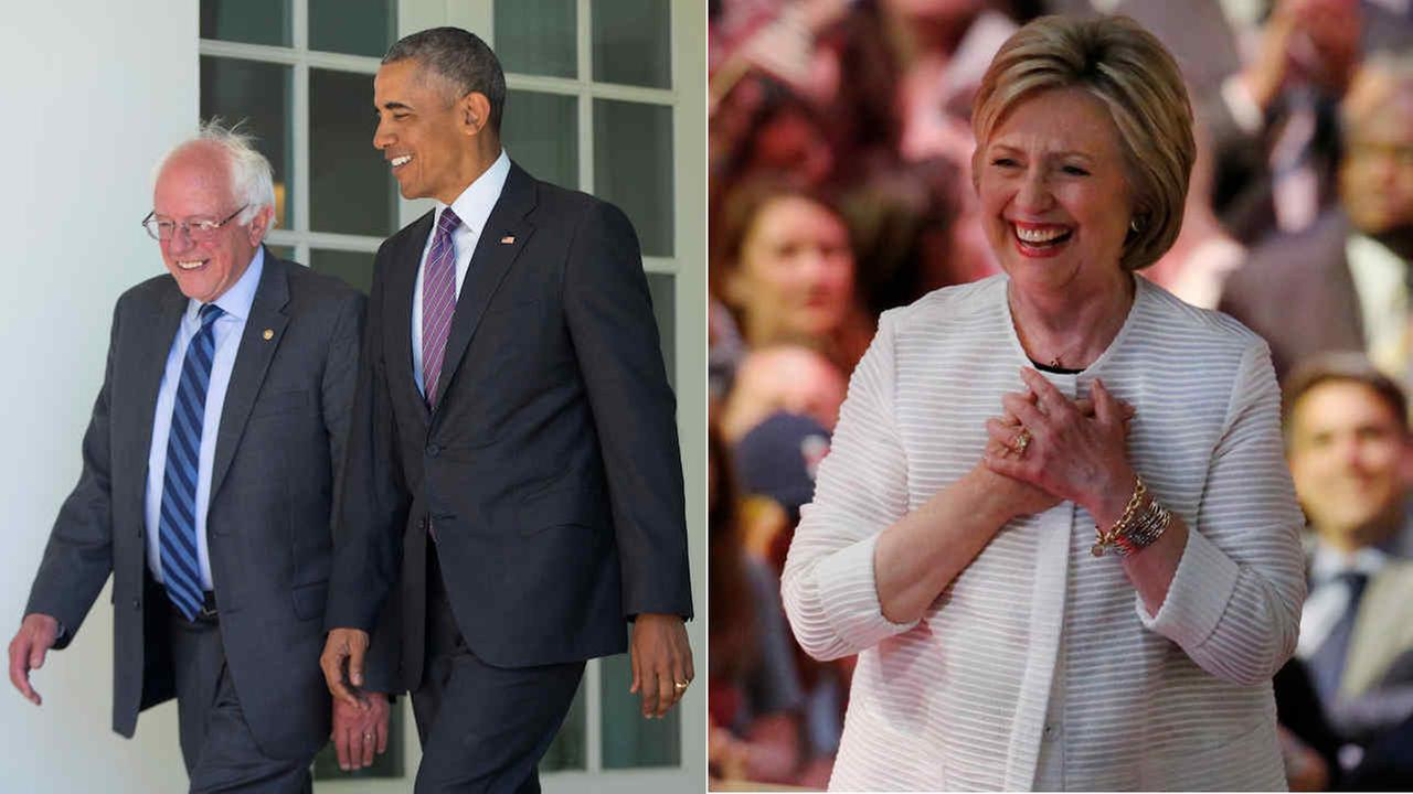 Left: President Obama walks with Sen. Bernie Sanders outside the White House on June 9, 2016/Right: Hillary Clinton arrives at a primary night rally on June 7, 2016, in New York
