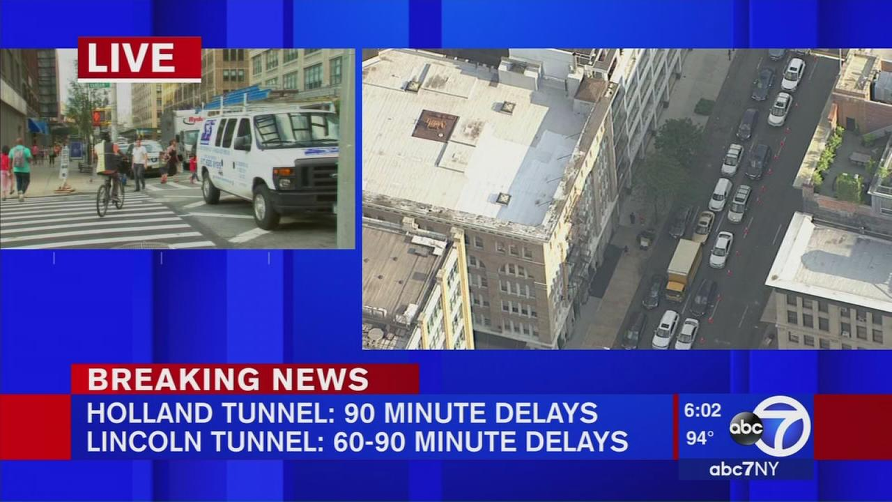 Traffic on Holland and Lincoln Tunnel, up tpo 90 minute delays