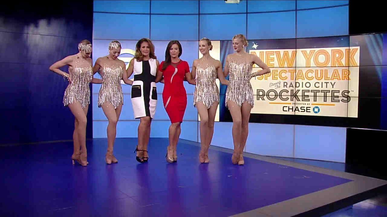 Amy Freeze and Michelle Charlesworth kick it with the Radio City Music Hall Rockettes!