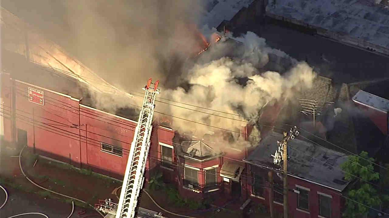 NewsCopter 7 was above a vacant building fire in Orange, New Jersey.