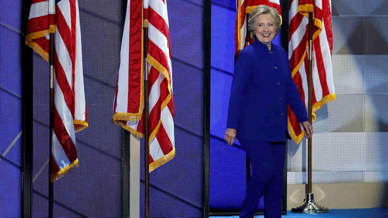 Democratic presidential nominee Hillary Clinton walks on stage after President Barack Obamas speech during the third day of the Democratic National Convention in Philadelphia.