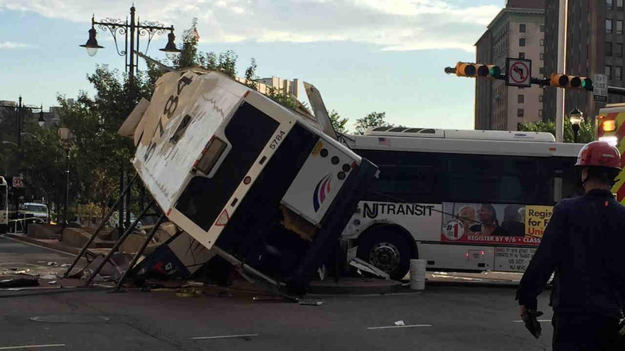 One person died after two buses collided at North Broad Street and Raymond Boulevard in Newark Friday morning.