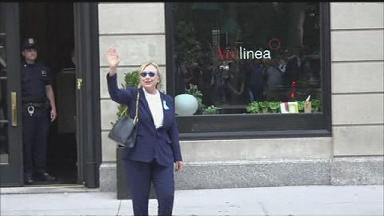 Hillary Clinton leaves daughters apartment in Manhattan
