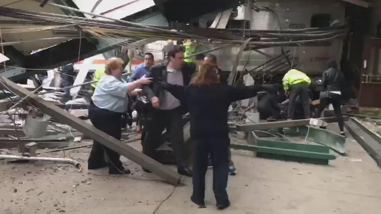 Video shows scene after train crash