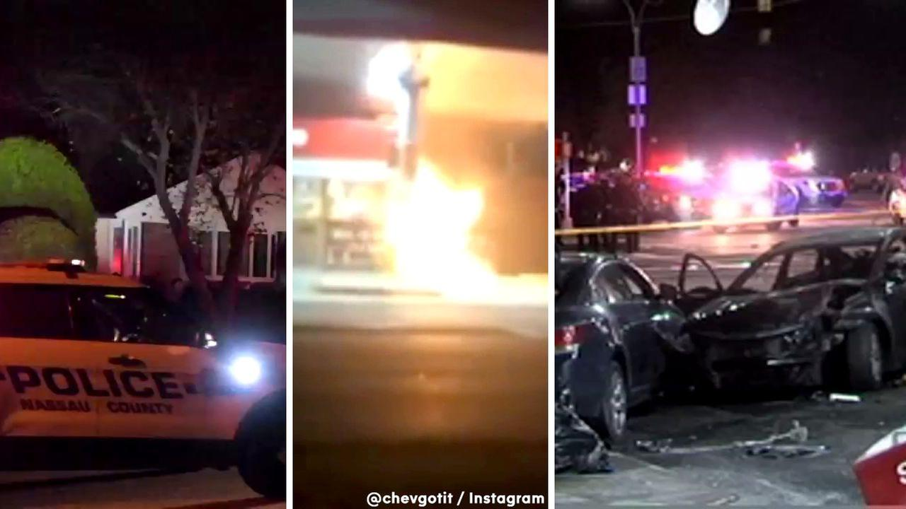 Husband in custody after wife murdered in Bethpage, chase ends in fiery crash in Brooklyn
