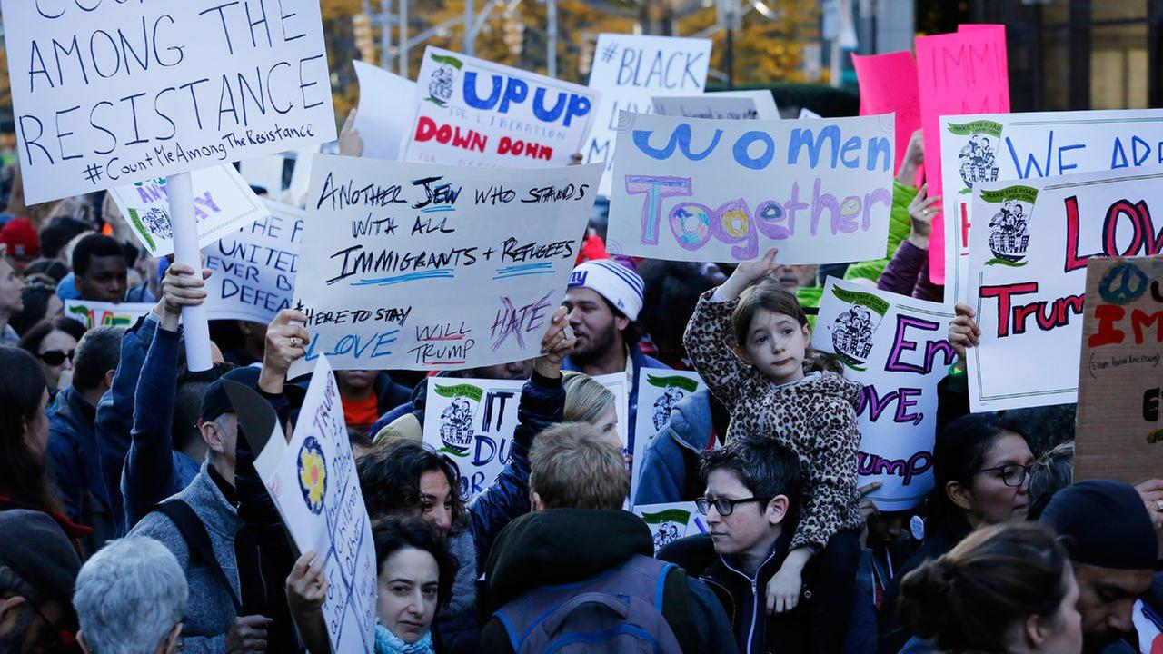 Thousands of demonstrators protest anticipated immigration policies of president-elect Donald Trump during a march, Sunday, Nov. 13, 2016 in New York.