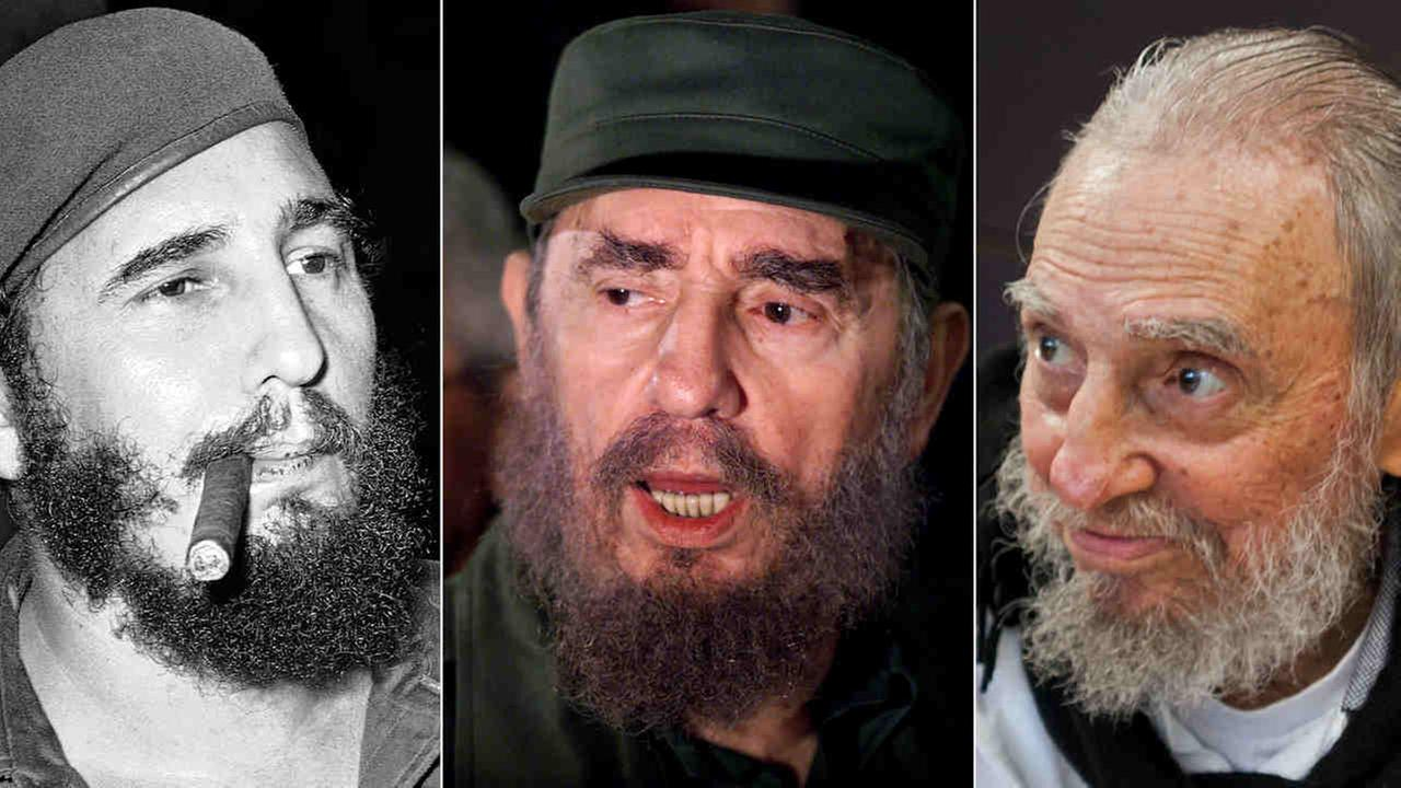 These three file photos show (l to r) Fidel Castro, in Havana, Cuba, April 29, 1961; speaking to the media about Elian Gonzales in April 6, 2000; and in his Havana home on Feb. 13,