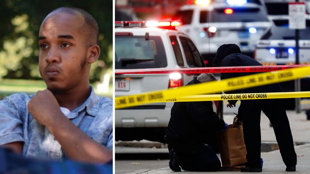 Abdul Razak Ali Artan (left) is profiled in a story for The Lantern in August 2016. Officers look for evidence after attack on campus (right).
