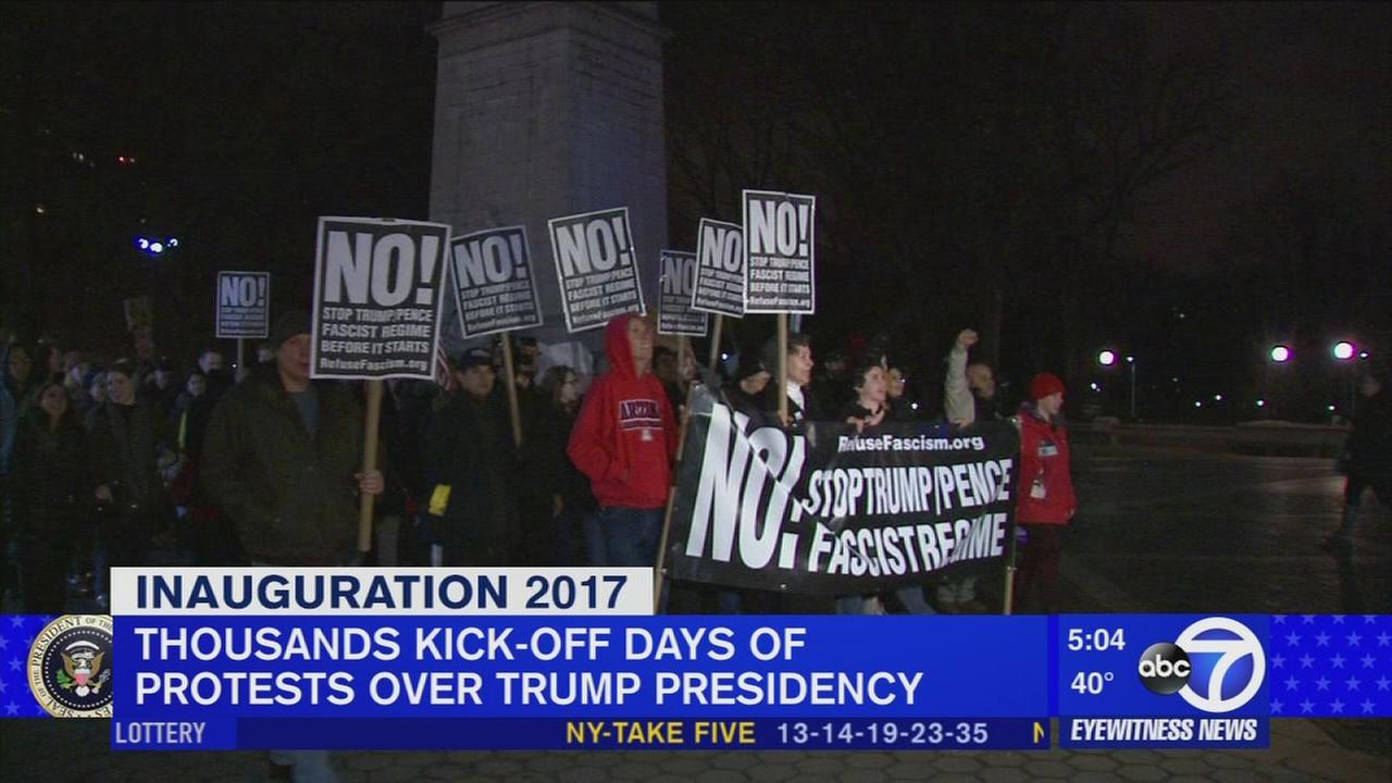 Throngs protest in NYC Thursday; more planned in DC for Inauguration Day