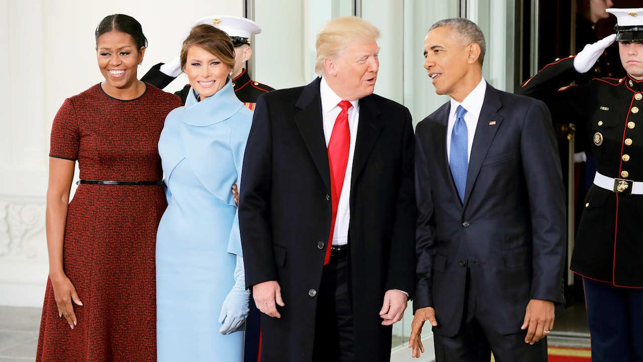 President Barack Obama and first lady Michelle Obama pose with President-elect Donald Trump and his wife Melania at the White House in Washington, Friday, Jan. 20, 2017.