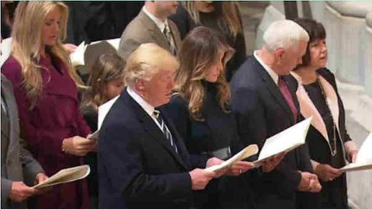 President Trump and first lady Melania Trump attend a prayer service at the National Cathedral.