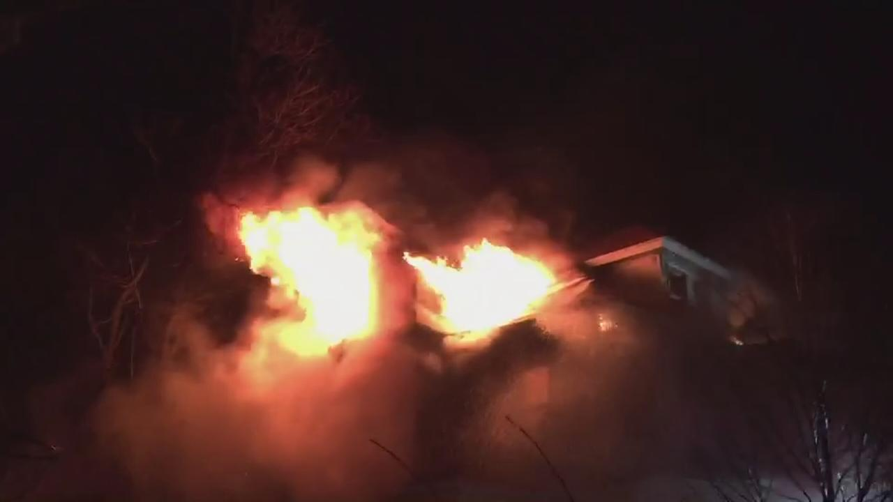 Flames shoot from windows of home in New Rochelle
