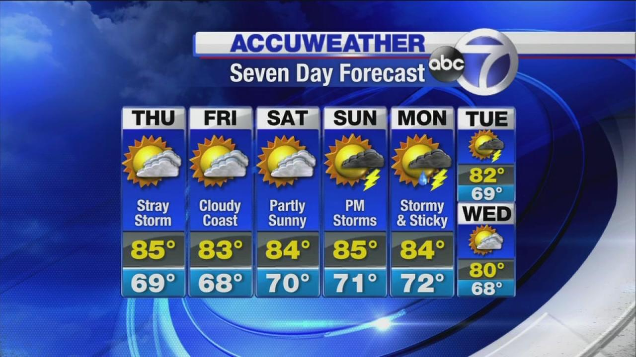 AccuWeather: Slightly cooler with a shower