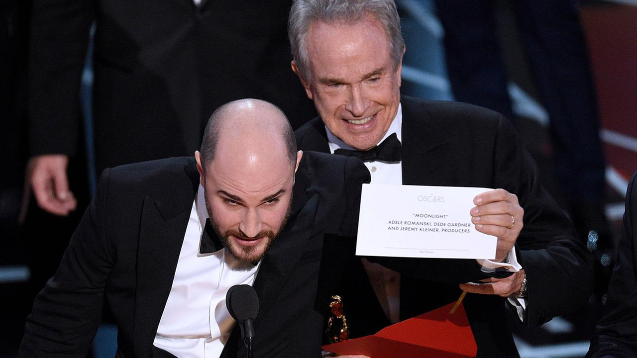 Jordan Horowitz, producer of La La Land, shows the envelope revealing Moonlight as the true winner of best picture at the Oscars on Sunday, Feb. 26, 2017, at the Dolby Theatre.