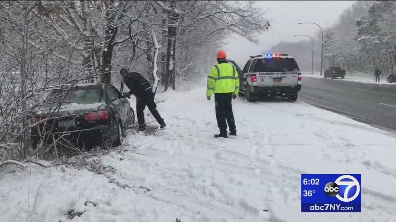 Snowy road conditions in Suffolk County