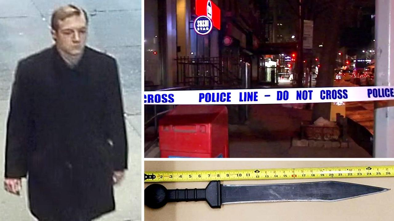 Police released a surveillance photo of the suspect, as well as a photo of the knife they say he used to kill a man in Midtown Manhattan.