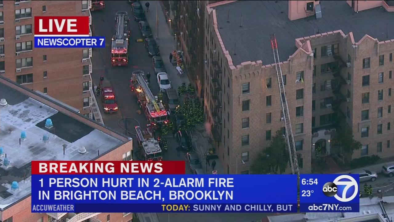 Fire at Brighton Beach apartment building leaves man burned