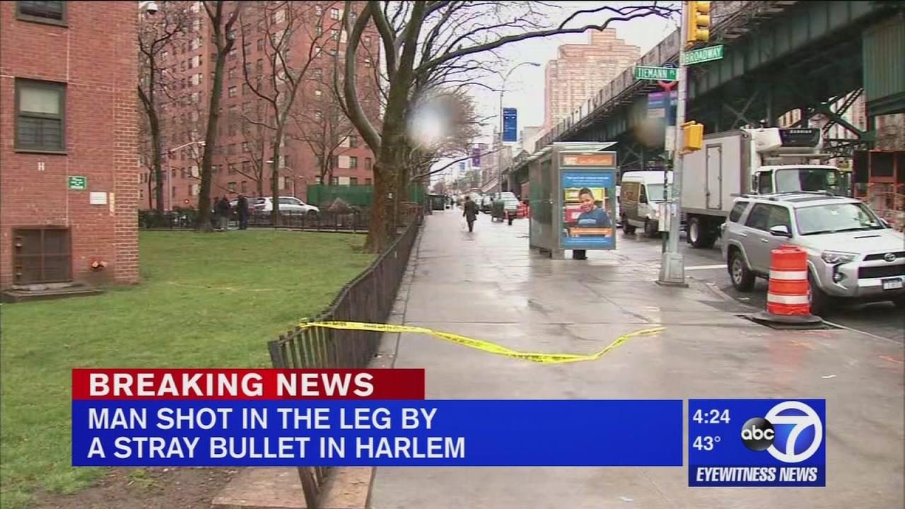 Man shot by stray bullet in Harlem