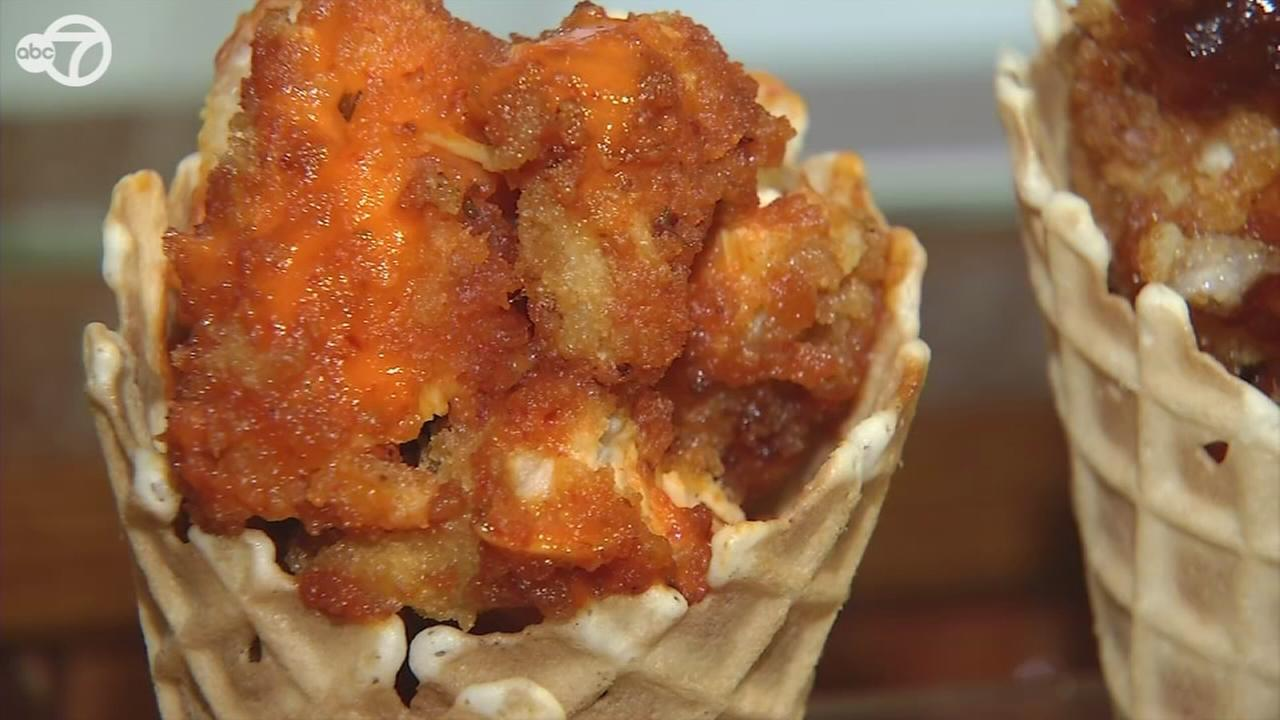 Fried chicken stuffed waffle cones at ChicknCone in downtown Manhattan