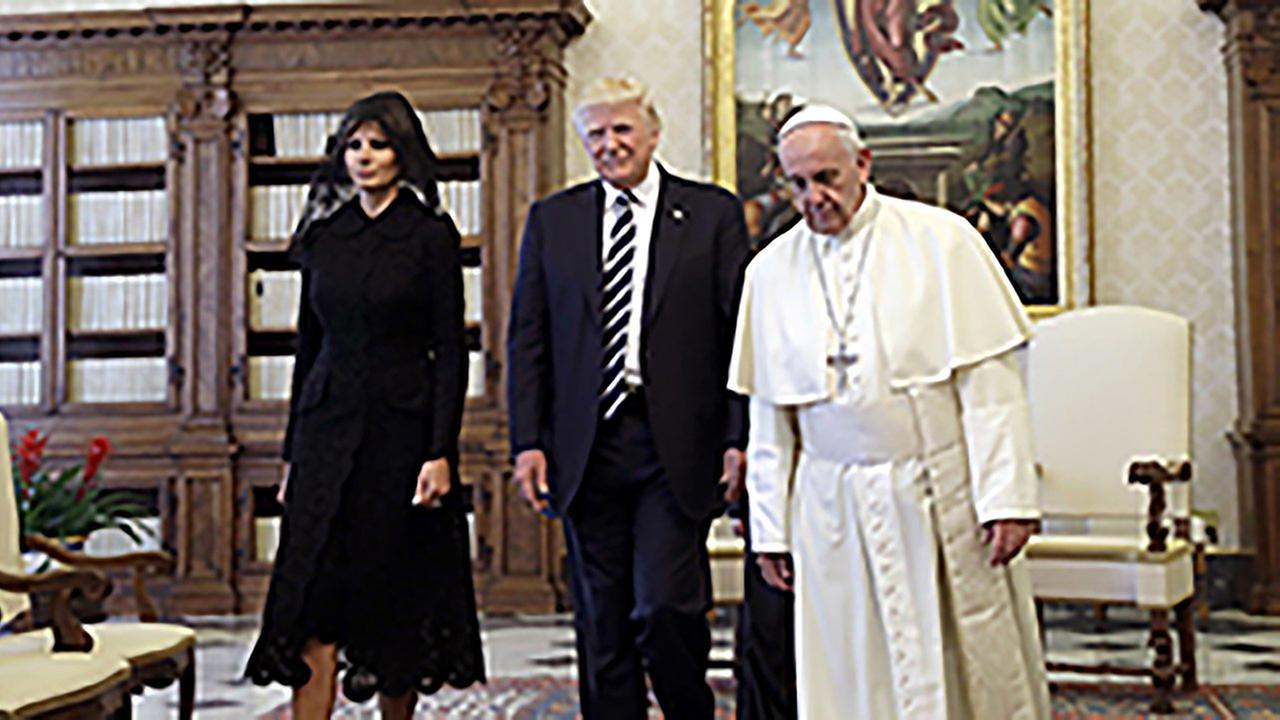 U.S. President Donald Trump and first lady Melania Trump meet with Pope Francis, Wednesday, at the Vatican.