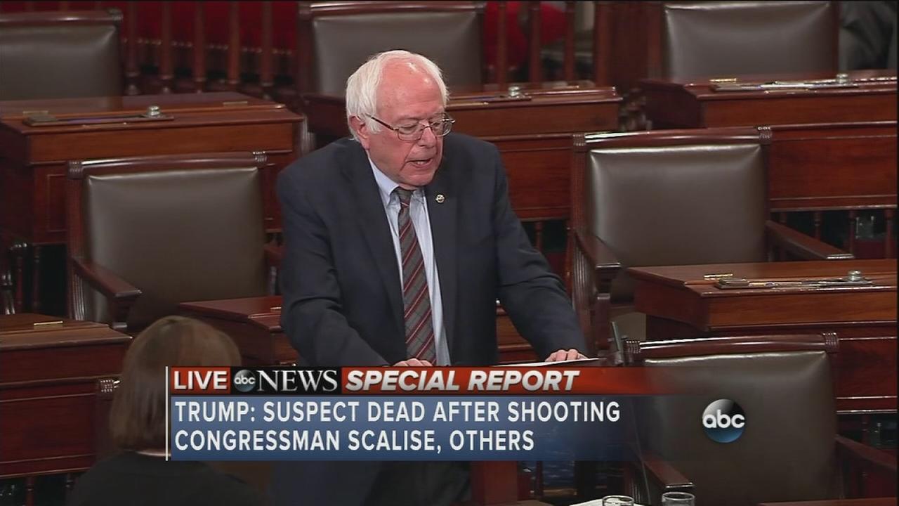 Sen. Bernie Sanders reacts to shooting