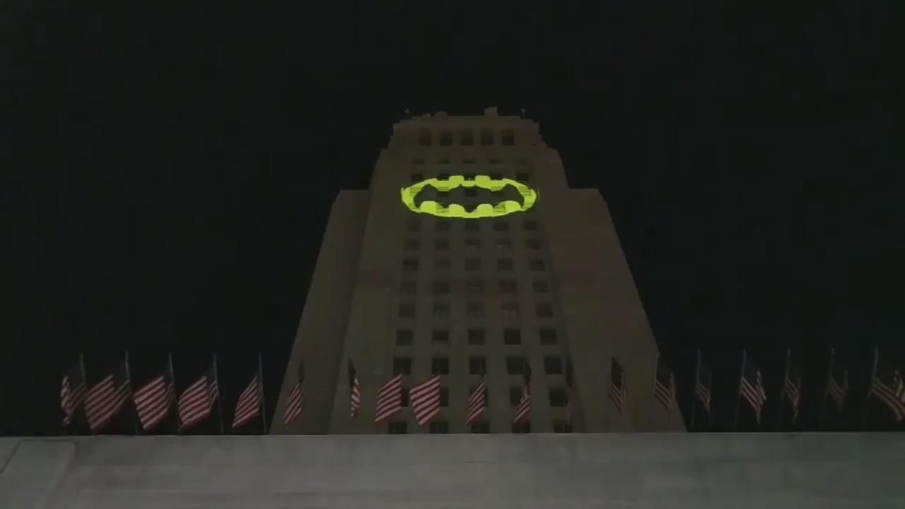 Batman sign lit up
