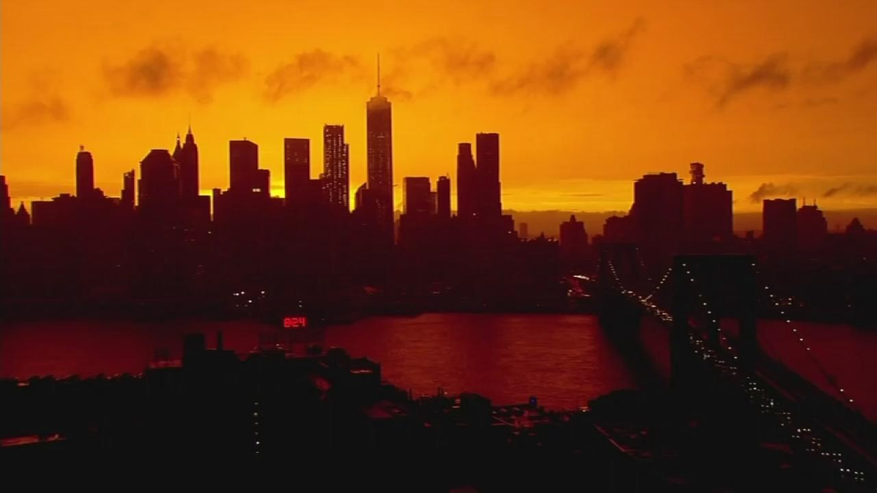 Orange sunset after storm passes through New York City