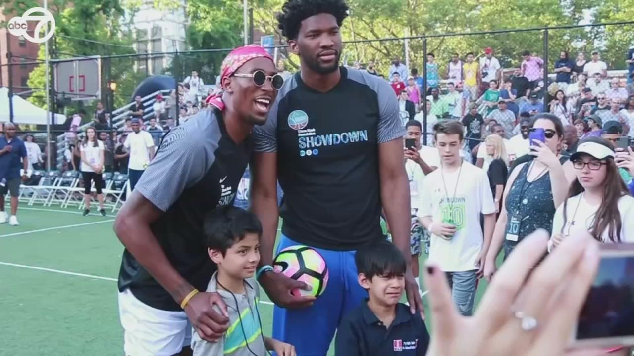 NBA, soccer stars compete in charity soccer match in New York City