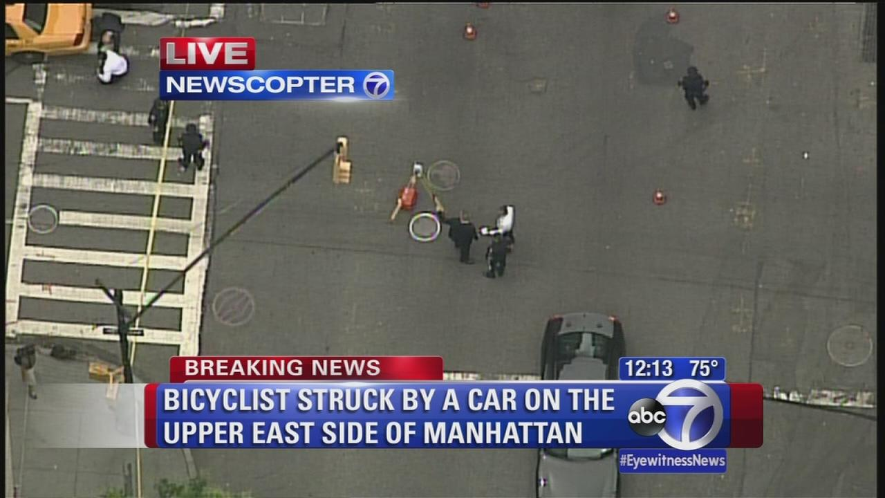 Bicyclist hit by car on Upper West Side